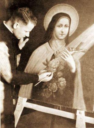 Ksiądz Gurgacz malujący obraz św. Teresy od Dzieciątka Jezus. Fot. arch. Opublikowano w 'Naszym Dzienniku', w numerze 303 (3016) z dnia 29-30 grudnia 2007 r.