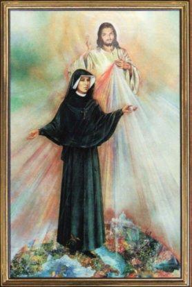 Obraz wystawiony w dniu kanonizacji Siostry Faustyny  na Placu sw. Piotra w Rzymie, 30 kwietnia 2000 r.